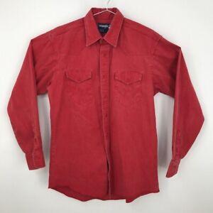 Wrangler Mens Dress Shirt Red Point Collar Flap Pockets X-Long Tails 16 34