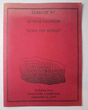 Class of 1967 30 Year Reunion Booklet Richmond Union High School Calif 1997