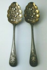 Elegant Pair Of Silver Plated Berry Spoons