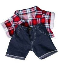 "Red Check Shirt And Jeans outfit teddy bear clothes fits 15"" Build a Bear"