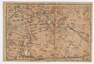 1904 ORIGINAL ANTIQUE MAP OF BERLIN CENTER DOWNTOWN / BRANDENBURG / GERMANY
