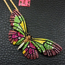Women's Colorful Crystal Cute Butterfly Pendant Betsey Johnson Necklace/Brooch