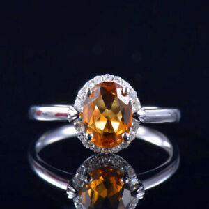 Natural Diamond Yellow Citrine Women Halo Ring Solid 14K White Gold Bridal Gift