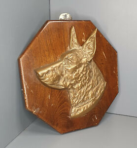 Vintage cast brass Alsatian wall mounted plaque - retro dog old Doberman(BA9)