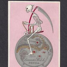 Antique Skeleton 19th Century Grim Reaper Victorian Lancaster Watch Trade Card