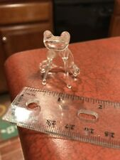 "Clear Blown Art Glass Simple Crouched Frog Figure 1.25"" FREE SHIPPING"