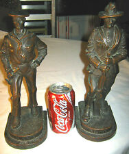 ANTIQUE AMERICAN WAR KBW BRONZE CLAD ARMY NAVY SOLDIER GUN BUGLE STATUE BOOKENDS