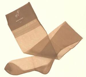 Vintage BERKSHIRE 351 FF Seamed Cuban Heel Flat Knit Stockings 10 L Tint