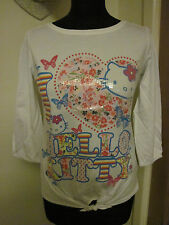HELLO KITTY TOP age 13-14 years / ladies UK 10 NEW kawaii cotton butterfly ditsy