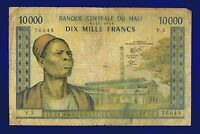 MALI 10000 FRANCS 1970-84 VERY GOOD PIC15G RARE ES-3