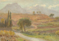 20th Century Oil - Purple Mountain Landscape