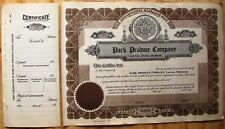 STOCK CERTIFICATE PARK PRODUCE COMPANY, LAWTON OKLAHOMA. DAIRY COWS