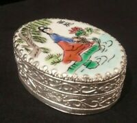 Vintage Chinese Porcelain Shard Mirror Trinket Box Silver Plated Lady Fishing