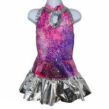 Cicci Dance Costume Sz M Pink Purple Metallic Sequins 2 Pc Flashy Leotard Skirt