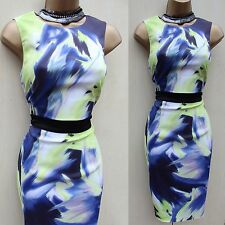 Unique Karen Millen DQ104 Dramatic Print Wiggle Pencil Cocktail Dress 10 UK/ 38