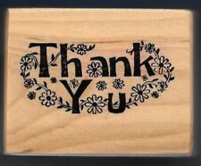 PSX THANK YOU Daisy Floral 1983 GIFT TAG original Petaluma, CA wood Rubber Stamp