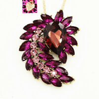 Betsey Johnson Big Crystal Flower Leaf Pendant Long Chain Necklace/Brooch Pin
