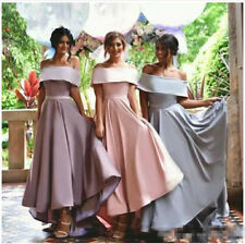 Stain High Low Bridesmaid Dresses Satin Wedding Party Evening Gowns Custom