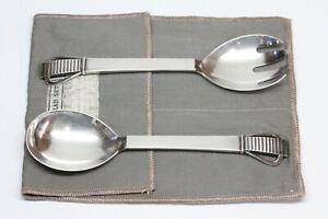 Vintage GEORG JENSEN Sterling Silver Salad Serving Set - Heavy - Original Pouch
