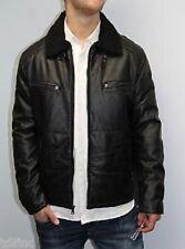 INC International Concepts Men's Jacket Sz s Black Faux Leather Sherpa Bomber