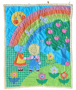 70s 80s Vintage Bright Rainbow Wall Baby Pastel Quilt Sunbonnet Sue Sam Holly