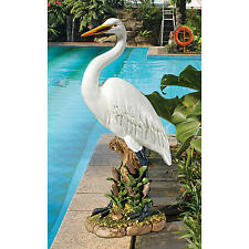 """The Great White Lawn Egret 23"""" Design Toscano Realistically Hand Painted Statue"""
