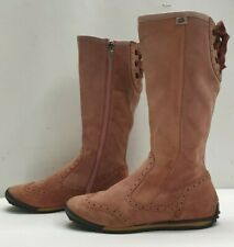 GENUINE ladies womens pink real suede flat knee boots Size UK 6 EU 39