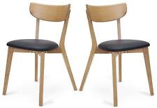 2x Chaise en Bois Pérou Simili Cuir de Salle à Manger Chêne Noir Set Cuisine