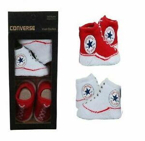 BABY INFANT BOYS GIRLS CONVERSE LOGO SOFT BOOTIE GIFT SET SIZE 0-6 MONTHS