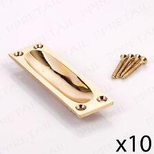 FLUSH RECESSED HANDLES 10x Solid Brass Finger Pull Slide Door 90mm x 25mm New UK