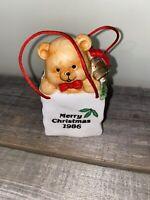 Vintage Enesco 1986 Christmas Ornament Bank Merry Christmas Bear In A Bag