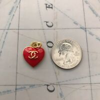 Chanel stamped Zipper Pull Red/Gold 17*20mm Metal