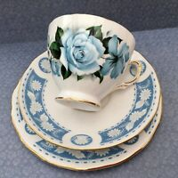 ROYAL VALE / QUEEN ANNE  TRIO SET CUP SAUCER PLATE BLUE ROSE c1960s GILDED CHINA