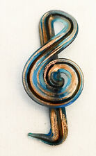 """2.75"""" Hand Blown Murano? Art Style Glass Fused Sculpture Music Clef Note Treble"""