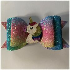 """4"""" Unicorn glitter rainbow hair bow on a clip- The Bow Brighter Than Picture."""