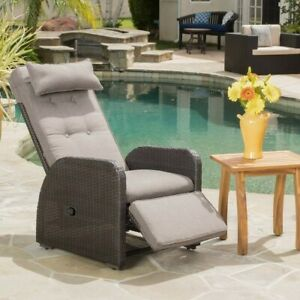 Ostia Wicker Recliner with cushions and Bonus pillow outdoor chair