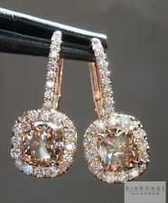 2.11cts Orange Brown Cushion Cut Diamond Earrings R4702 Diamonds by Lauren