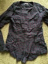 WRAP SHIRT purple And Forest Green No Colar Size S