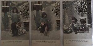 * Série de 3 cartes postales fantaisie - LA MENDIANTE DU PANTHEON