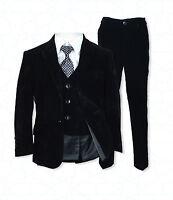 5 PC Boys Black Velvet Suit, Pageboy Suits, Wedding Suit Children's Formal Wear