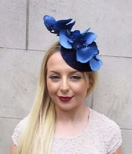 Navy Royal Blue Velvet Orchid Flower Fascinator Hat Races Hair Clip Vintage 2597