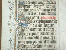 RARE Illuminated Medieval Manuscript Vellum BOH Leaf w/ Gold, c.1430