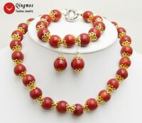 9-10mm Red Round Natural Coral Earring & Bracelet & Necklace Woman Jewelry Set