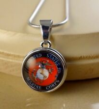 US MARINES Basic SNAP BUTTON CHARM PENDANT W/ Steel Necklace
