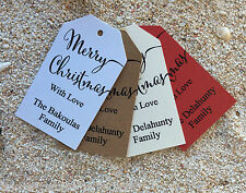 10 Kraft White Gift Tags Merry Christmas Favour Personalised With Love Presents