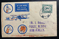 1932 Johannesburg South Airmail First Flight Cover FFC To Kimberly