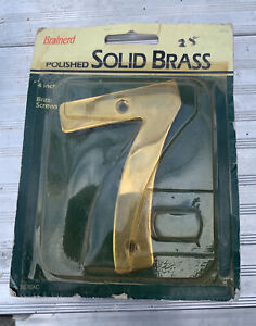 """Solid Brass House 4"""" Inch High Address Number 7Polished Brass"""