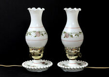 """LOT/2  VINTAGE BEDSIDE HURRICANE LAMPS WITH PAINTED ROSES 11.5"""""""