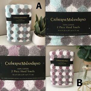 2-PK CATHERINE MALANDRINO Cotton Hand Towels Honeycomb Turq Blue OR Purple Taupe