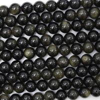 "Black Gold Obsidian Round Beads Gemstone 15.5"" Strand 4mm 6mm 8mm 10mm 12mm"